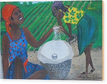 Wood Print featuring the painting White Rice Merchant by Nicole Jean-Louis
