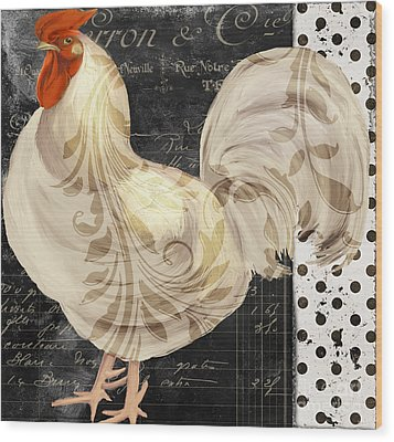 White Rooster Cafe II Wood Print by Mindy Sommers
