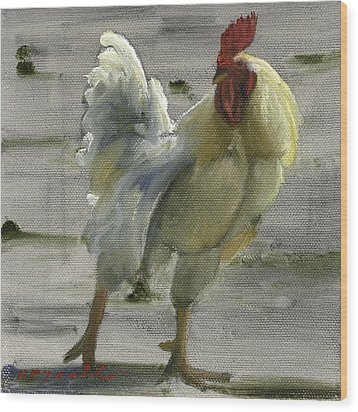 White Rooster Wood Print by John Reynolds