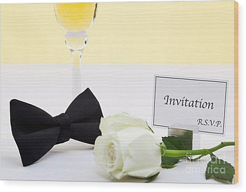 White Rose Bow Tie And Invitation. Wood Print by Richard Thomas