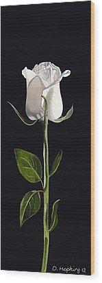 White Rose Wood Print by Darrell Hopkins