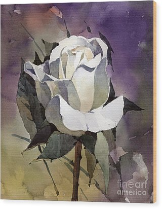 White Rose Wood Print by Natalia Eremeyeva Duarte