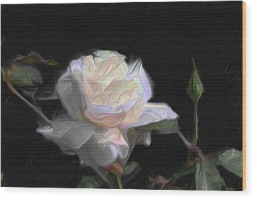 White Rose Painting Wood Print