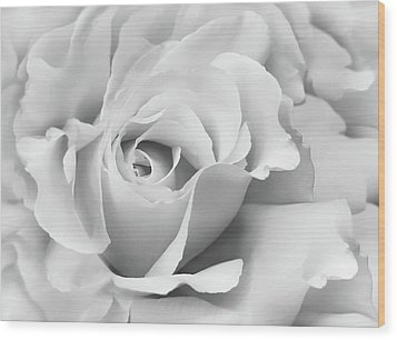 Wood Print featuring the photograph White Rose Ruffles Monochrome by Jennie Marie Schell