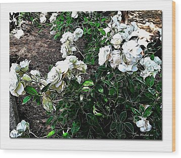 Wood Print featuring the photograph White Roses by Joan  Minchak