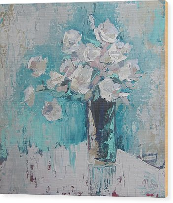 White Roses Palette Knife Acrylic Painting Wood Print by Chris Hobel