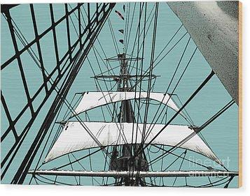 White Sails At Dawn Wood Print by Linda  Parker