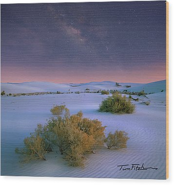 White Sands Starry Night Wood Print