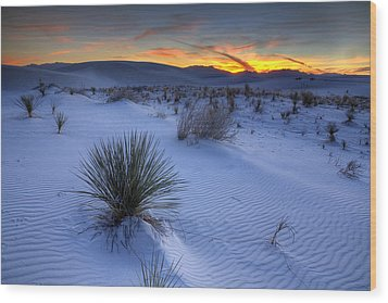 White Sands Sunset Wood Print by Peter Tellone