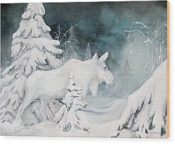 White Spirit Moose Wood Print by Nonie Wideman