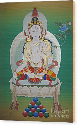 White Tara Wood Print by Sergey Noskov