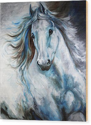 White Thunder Arabian Abstract Wood Print by Marcia Baldwin