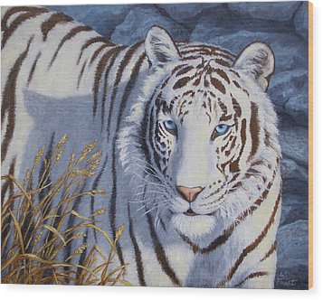 White Tiger - Crystal Eyes Wood Print by Crista Forest