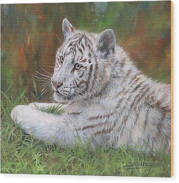 Wood Print featuring the painting White Tiger Cub 2 by David Stribbling