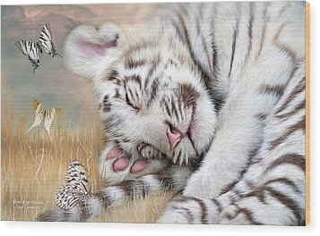 Wood Print featuring the mixed media White Tiger Dreams by Carol Cavalaris