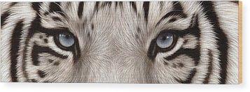 White Tiger Eyes Wood Print