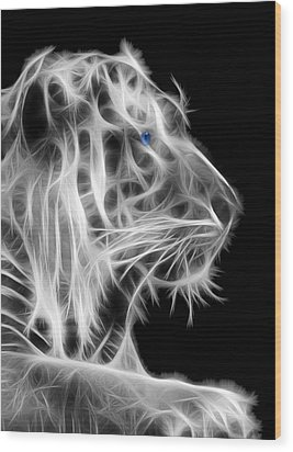 Wood Print featuring the photograph White Tiger by Shane Bechler