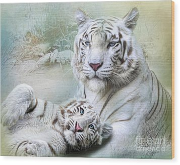 Wood Print featuring the digital art  White Tiger by Trudi Simmonds