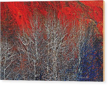 White Trees Wood Print