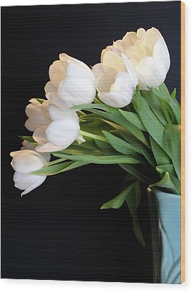 White Tulips In Blue Vase Wood Print