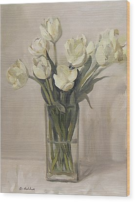White Tulips In Rectangular Glass Vase Wood Print