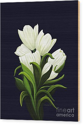Wood Print featuring the painting White Tulips by Patricia Griffin Brett
