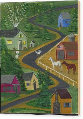 White Turkey Day On The Road To Prosperity Wood Print by Gail Finn
