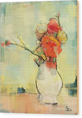 Wood Print featuring the painting White Vase by Carrie Joy Byrnes
