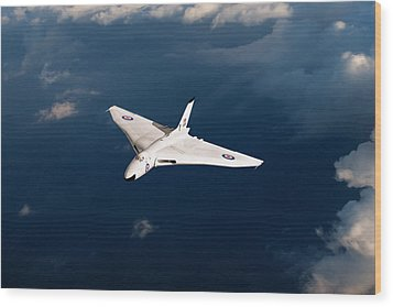 Wood Print featuring the digital art White Vulcan B1 At Altitude by Gary Eason