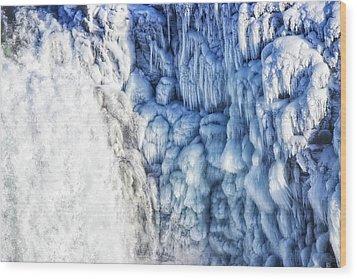 White Water And Blue Ice Gullfoss Waterfall Iceland Wood Print by Matthias Hauser