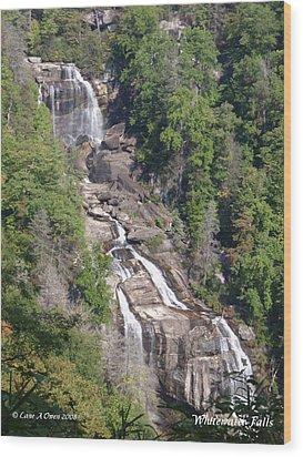 White Water Falls Nc Wood Print by Lane Owen
