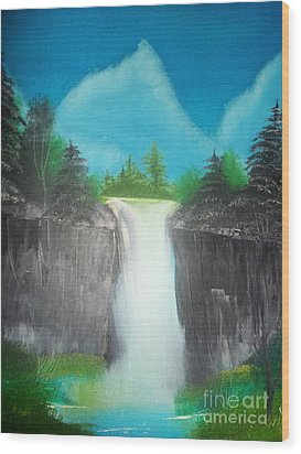 White Waterfall Wood Print