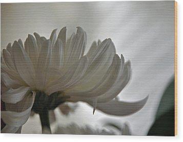 White Waves Wood Print