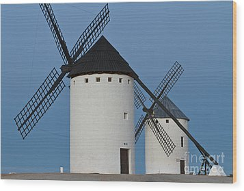 Wood Print featuring the photograph White Windmills by Heiko Koehrer-Wagner