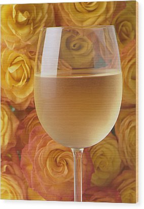 White Wine And Yellow Roses Wood Print by Garry Gay