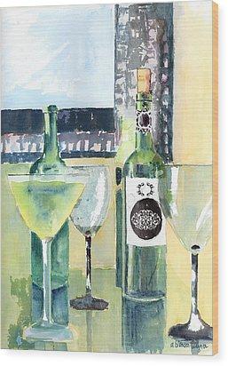 White Wine Wood Print by Arline Wagner