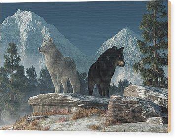 Wood Print featuring the digital art White Wolf, Black Wolf by Daniel Eskridge