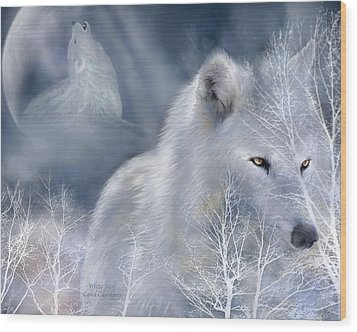 White Wolf Wood Print by Carol Cavalaris