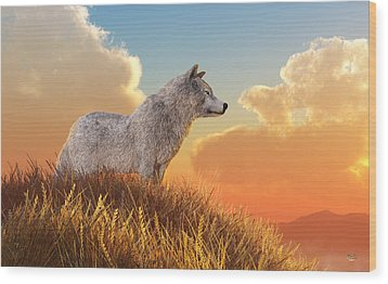 Wood Print featuring the digital art White Wolf by Daniel Eskridge