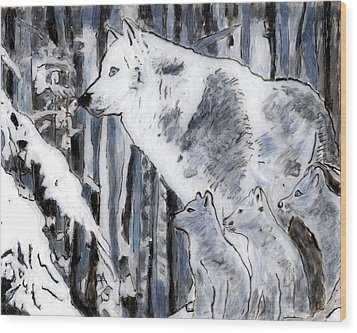 White Wolf Wood Print by Phil Strang