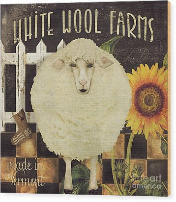 White Wool Farms Wood Print by Mindy Sommers