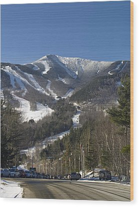 Whiteface Ski Mountain From The Road In Upstate New York Near Lake Placid Wood Print by Brendan Reals