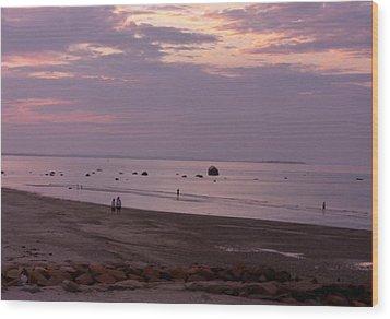Whitehorse Beach - Sunset Wood Print by Nancy Ferrier