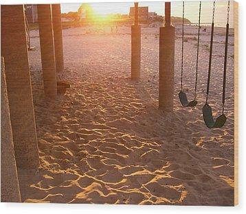 Whitehorse Beach - Swings Wood Print by Nancy Ferrier