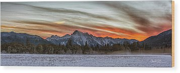 Whitehorse Sunset Panorama Wood Print