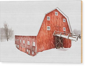 Wood Print featuring the painting Whiteout On The Farm Blizzard Stella by Edward Fielding