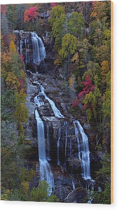 Whitewater Falls In Autumn Wood Print by Jetson Nguyen