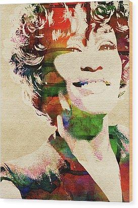 Whitney Houston Wood Print by Mihaela Pater