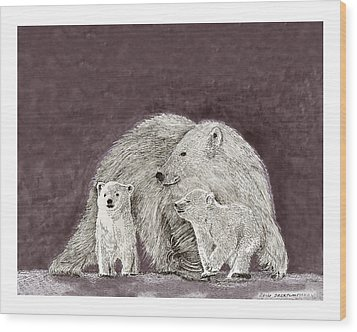 Wood Print featuring the painting Polar Bear Family by Jack Pumphrey