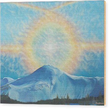 Wood Print featuring the painting Who Makes The Clouds His Chariot Fire Rainbow Over Alberta Peak by Anastasia Savage Ealy